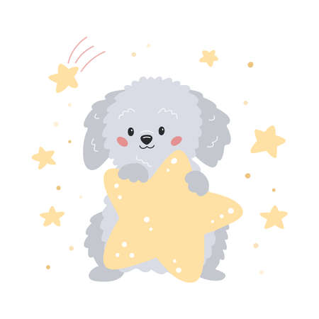 Cute cartoon puppy with star. Hand drawn labradoodle dog. Vector illustration for children poster print, nursery, greeting card and sticker. 일러스트