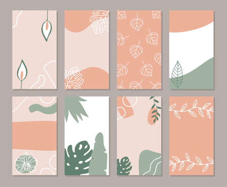 Set of abstract backgrounds for social media posts and stories, promotional content, banners and cover design templates. Hand drawn freeform shapes, leaves and tropical flowers. 일러스트