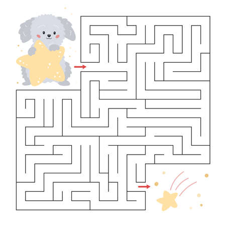 Education maze for preschool children. Cute cartoon dog with stars. Labyrinth game. Help the puppy to find falling star. Vector illustration.