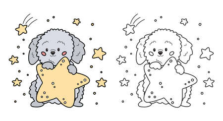 Coloring page for children. Cute cartoon dog with stars. Labradoodle puppy character. Vector illustration for preschool children, game, print and education.