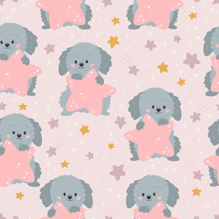 Childish seamless pattern with cute cartoon dog and stars on pink background. Ideal for fabrics, print, wallpaper and wrapping paper. Vector hand drawn puppy character.