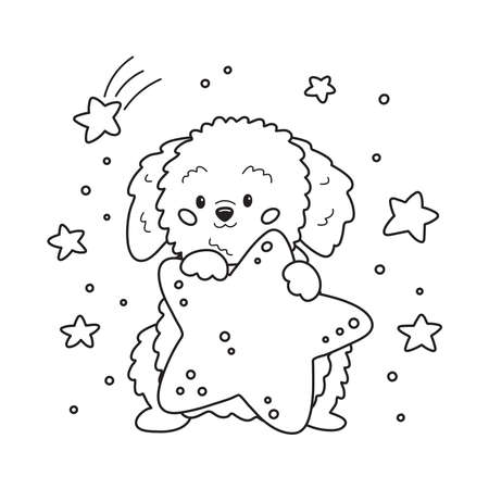 Cute cartoon dog with star. Coloring page for children. Outline vector illustration.