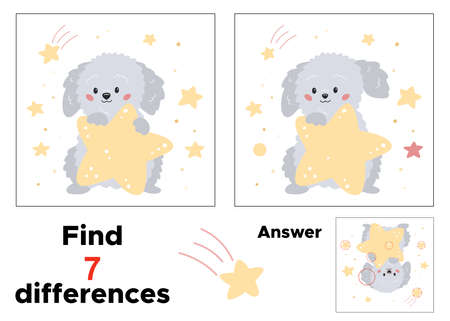 Educational game for preschool children. Find seven differences. With answer. Cartoon dog with stars. Printable worksheet for kindergarten. 일러스트