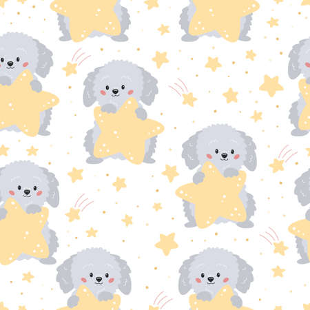Childish seamless pattern with cute cartoon grey dog and yellow stars on white background. Vector characters. Ideal for textile, wallpaper and print.