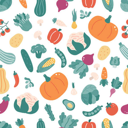 Seamless pattern with vegetables. Hand drawn doodle food on white background. Ideal for kitchen textile, wallpaper and print. Vector illustration.