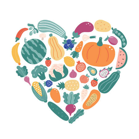 Hand drawn different doodle vegetables and fruits in the shape of a heart. Healthy organic fresh food concept. Vector illustration. 일러스트
