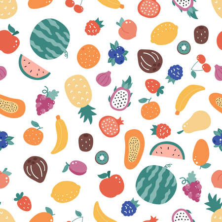 Seamless pattern with doodle fruits on white background. Hand drawn organic fresh food. Exotic and tropical fruits. Vector illustration.
