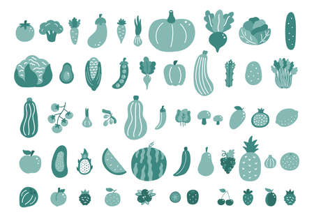 Set of hand drawn doodle vegetables and fruits. Monochrome green colors. Fresh organic food icons on white background. Vector illustration. 일러스트