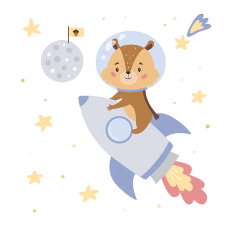 Chipmunk flies to the moon on a rocket. Cute cartoon character for children. Doodle animal. Space theme. Vector illustration. 일러스트