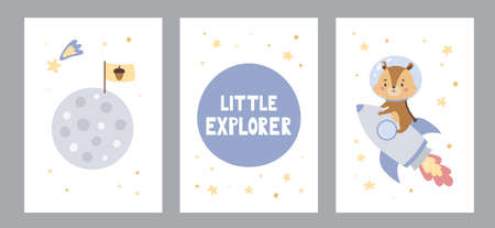 Set of posters or greeting cards with cute cartoon chipmunk on rocket. Hand drawn lettering little explorer. Space theme. Doodle animal and moon with flag. Vector illustration.