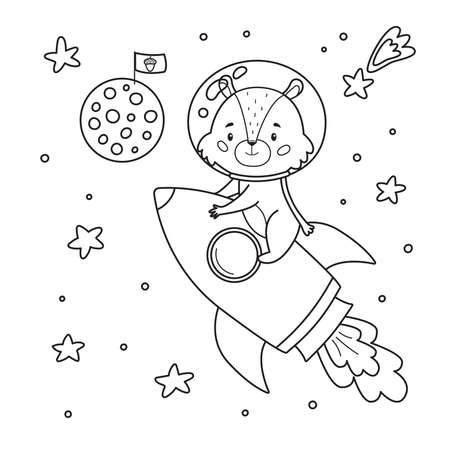 Coloring page for children. With cute cartoon chipmunk on rocket. Hand drawn moon with flag. Space theme. Outline black white illustration.