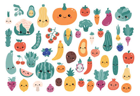 Vector set of kawaii cartoon vegetables and fruits with funny faces. Hand drawn doodle food character for children. Flat style illustration.