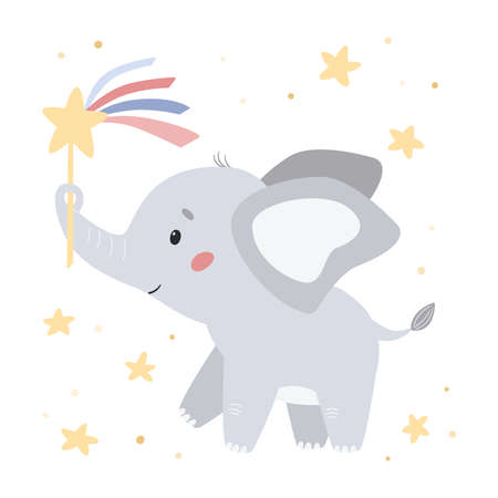 Cute elephant with magic wand and stars. Cartoon character. Doodle animal. Vector illustration poster for nursery, greeting cards and invitations.