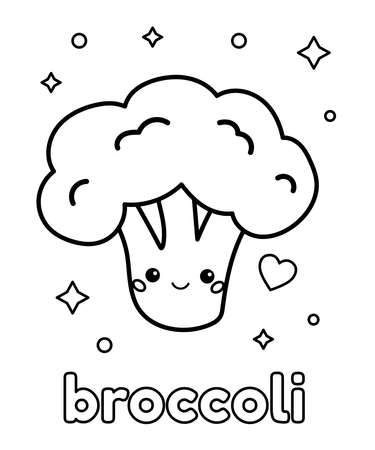 Coloring page for children. Cute kawaii broccoli with face. Healthy food. Black white outline vector illustration.