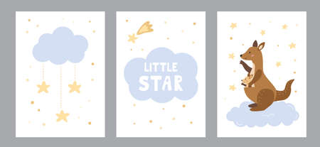Vector set of greeting cards and posters for nursery. Mother kangaroo with her baby, clouds and stars. Lettering little star. Hand drawn cartoon animal. Vector illustration. 일러스트