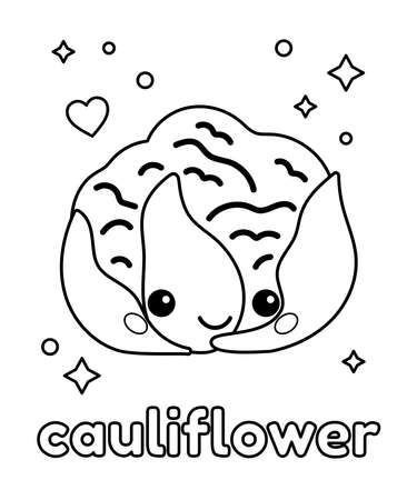 Cute kawaii cauliflower for coloring book. Outline black and white vector illustration. Healthy food for children. Cartoon vegetable.