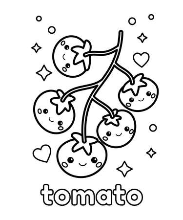 Coloring page for children. Cute cartoon tomatoes. Kawaii food with face. Learn vegetables for preschoolers. Outline black and white vector illustration.