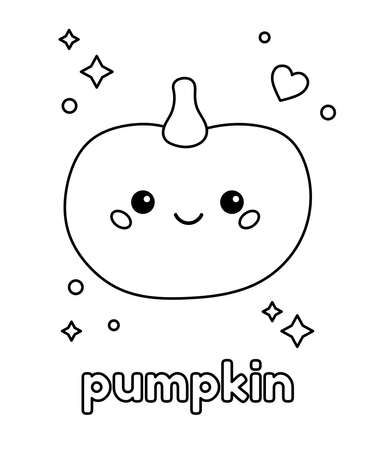 Coloring page for kids. Cute pumpkin with heart and stars. Healthy food. Black and white outline vector illustration.