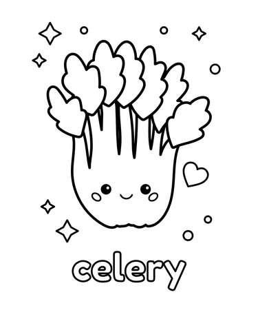 Coloring page with cute cartoon celery. Kawaii character with face. Healthy food for children. Outline vector illustration.