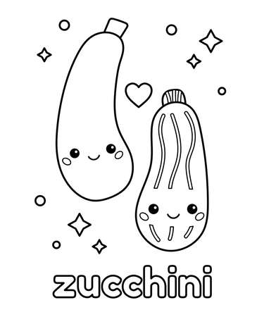 Cute cartoon zucchini with face. Coloring page for kids. Learn about healthy food. Outline vector illustration.