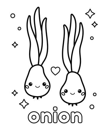 Learn healthy food for preschool children. Coloring page. Cute cartoon kawaii onion with face. Vector illustration. 일러스트