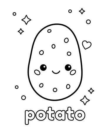 Cute cartoon potato. Coloring page for preschool children. Kawaii vegetable. Healthy food. Vector illustration.