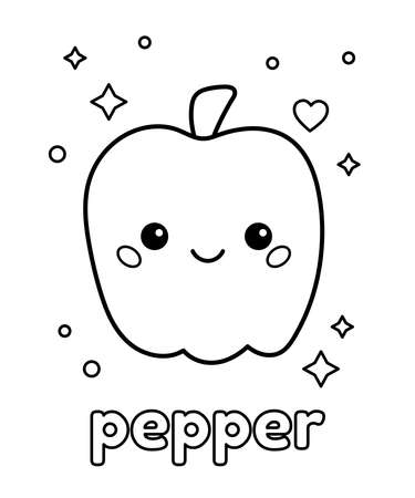 Cute kawaii pepper with face. Coloring page for preschool kids. Outline black and white vector illustration. Healthy food. Cartoon vegetables.