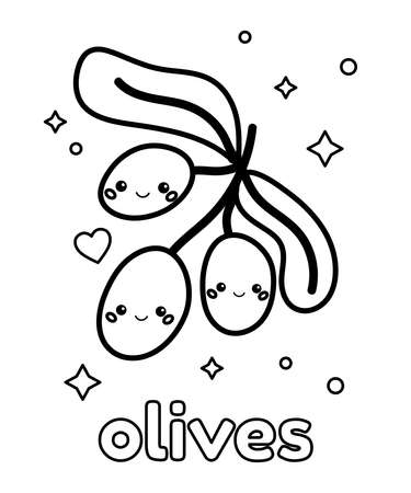 Coloring page for children with cute cartoon olives. Healthy food. Kawaii vegetables. Outline vector illustration. 일러스트