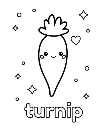Coloring page for preschool children. Cute cartoon turnip. Kawaii vegetable. Healthy food. Outline vector illustration.