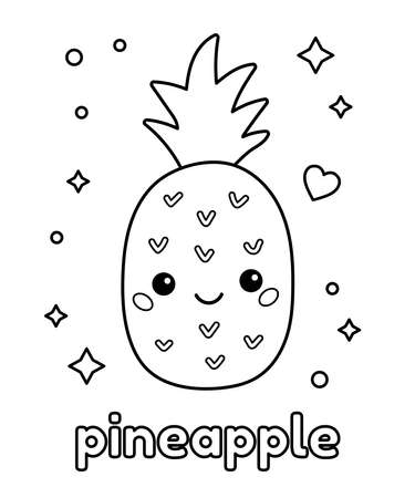 Coloring page for children with cute pineapple. Doodle fruit. Healthy food. Vector illustration. 일러스트