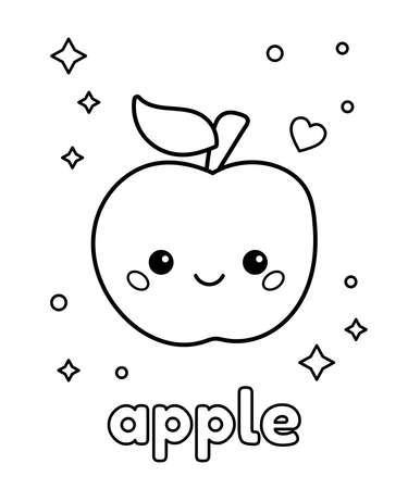 Cute cartoon kawaii apple. Coloring page with fruit. About healthy food for kids. Vector illustration. 일러스트