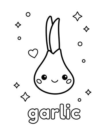 Coloring page with cute cartoon garlic. Doodle vegetable. About healthy food for children. Vector illustration. 일러스트