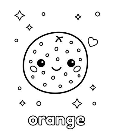 Kawaii orange with face. Coloring page for preschool children. About healthy food. Cartoon fruit. Vector illustration.