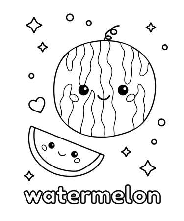 Healthy kawaii food. Cute cartoon watermelon with face. Coloring page for preschool kids. Vector outline illustration.