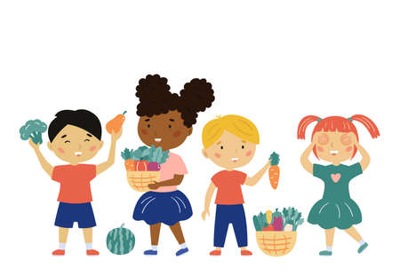Happy kids with vegetables and fruits. Children holding baskets with carrots, tomatoes, cabbage and pepper. Healthy food. Vector illustration.