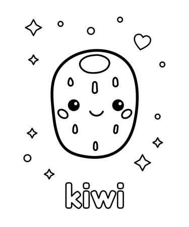 Coloring page for children. Cute kawaii kiwi fruit character. Outline vector illustration. Illustration