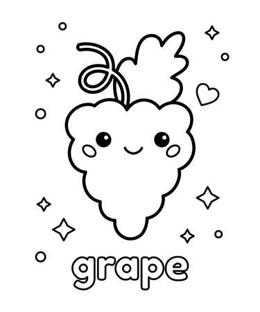 Coloring page with kawaii grapes. Cartoon fruit character. Healthy food. Vector outline illustration.