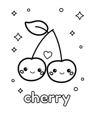 Coloring page for preschool children. Cute cartoon kawaii cherry with faces. Outline berry. Vector illustration.