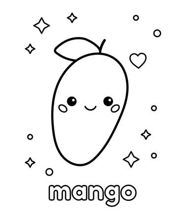 Coloring page for kids. Cute cartoon mango with happy face. Kawaii fruit character. Healthy food. Vector illustration.