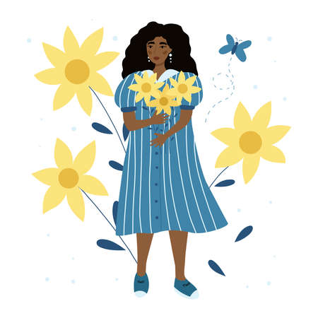 Beauty woman with sunflowers. African American girl in blue striped dress. Summer greeting card. Fashion concept. Flat vector illustration.