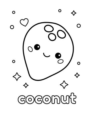 Educational coloring page for preschool kids. Cartoon kawaii coconut with face. Learn food vocabulary in English for children. Vector outline illustration. 일러스트