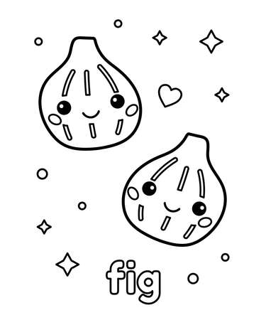 Coloring page for children. Learn healthy food. Cute cartoon kawaii figs with face. Hand drawn outline vector illustration.