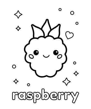 Cute cartoon kawaii raspberry with face. Coloring page. Learn healthy food for children. Black and white vector illustration. 일러스트