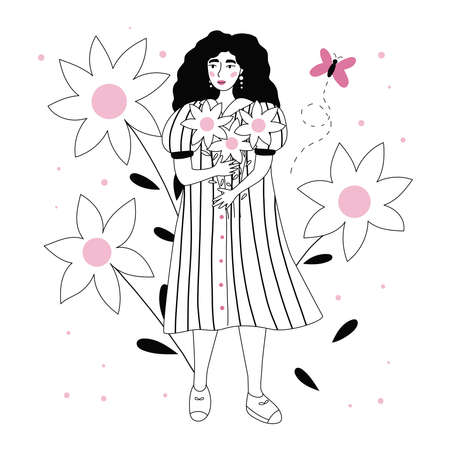 Beauty woman with sunflowers. Trendy hand drawn doodle girl in striped dress. International woman day greeting card. Black and white summer vector illustration.