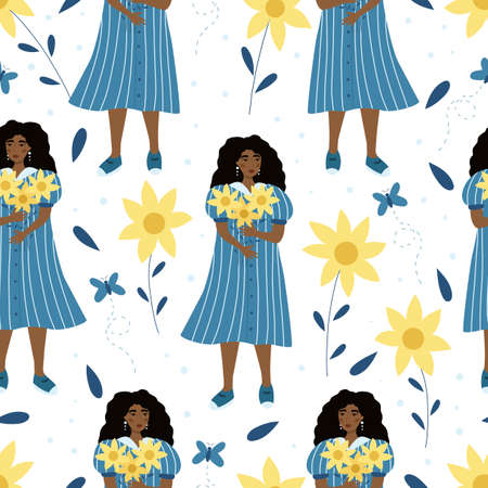 Seamless pattern with beautiful woman and sunflowers on white background. Summer vector illustration.