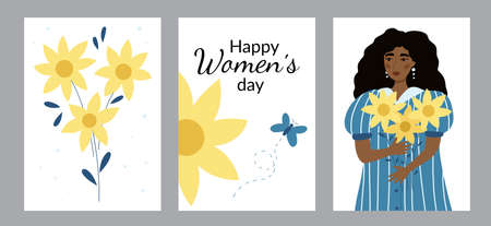 Set of greeting cards with beauty African American woman and sunflowers. Happy International womans day. Hand drawn doodle people and plants. Girl power.