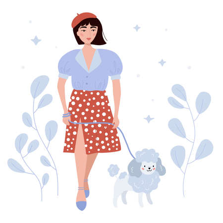 Beauty girl walking a French poodle. Hand drawn person with pet on white background. Concept woman in red skirt, beret and blue blouse. Flat vector illustration.