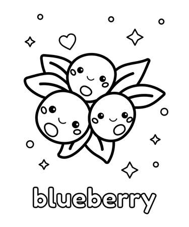 Cute coloring page with blueberry. Kawaii cartoon food with face. English vocabulary. Black and white outline illustration.