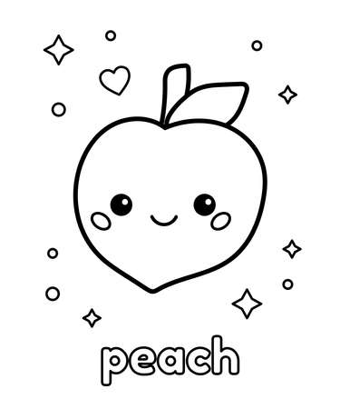Coloring page with hand drawn doodle peach for preschool children. Learn english vocabulary food names. Kawaii cartoon characters. Vector illustration.