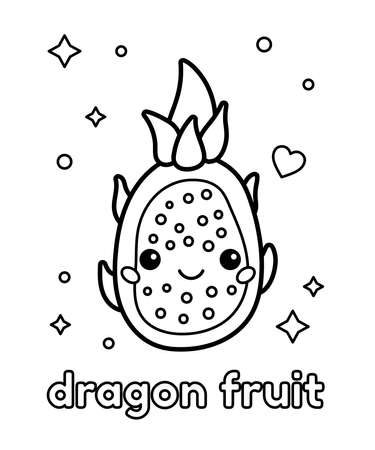 Coloring page with cute cartoon dragon fruit. Kawaii food. English vocabulary for children. Black white outline illustration.